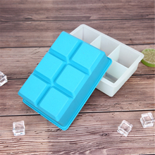 Six Holes Silicone Ice Cube Trays with Lids