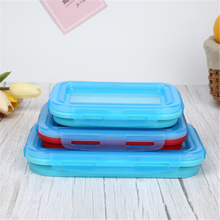 Silicone Collapsible Portable Foldable Lunch Box with Soft Cover